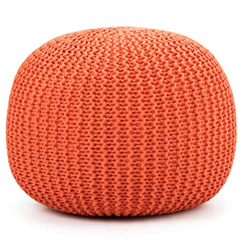 Giantex Pouf Round Knitted Hand Knitted Dori Cable W/Handmade Cotton Braid Cord, Home Decorative Seat for Guests, Ideal for Living Room, Bedroom, Kid's Room Floor Ottoman Footrest (Orange) (Poofs Knitted)