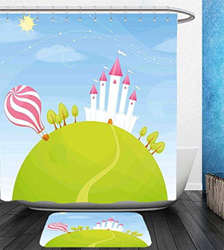 Beshowereb Bath Suit: Showercurtain Bathrug Bathtowel Handtowel Cartoon Decor Fantasy Castle on Top of the Hills and Hot Air Balloon in Sunny Sky Day Kids Art Multi