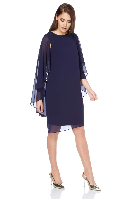 7624f18382c1a Roman Originals Women's Chiffon Cape Sleeve Dress - Ladies Shift Dresses -  Midnight Blue - Size 10: Amazon.co.uk: Clothing