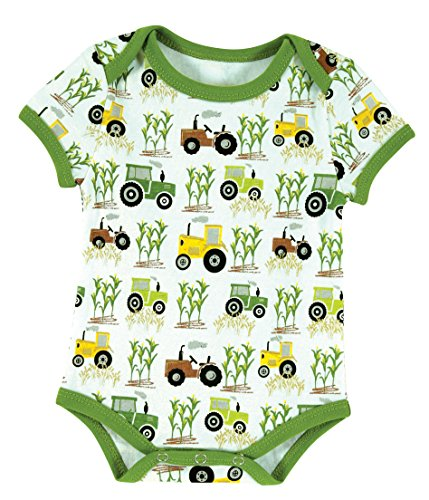 Stephan Baby Snapshirt-Style Down on the Farm Tractor Diaper Cover, Green/White/Yellow, 6-12 Months