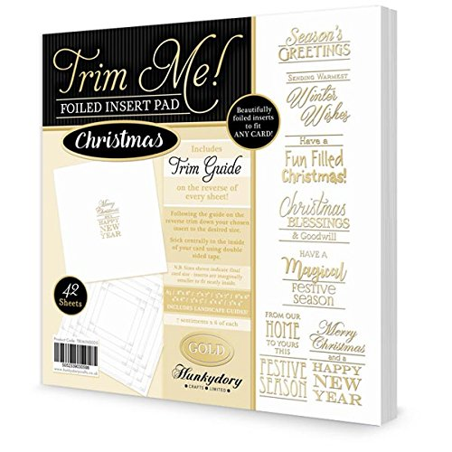 Hunkydory Crafts Trim Me Gold-Foiled Christmas Inserts for Cards - 42 Sheets
