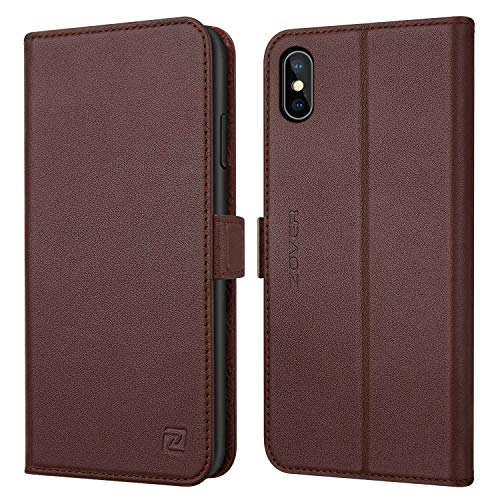 Zover iPhone Xs Case, iPhone X Wallet Case Genuine Leather Case Kickstand Feature Card Slots Magnetic Closure Apple Phone XS/X Gift Box Dark Brown