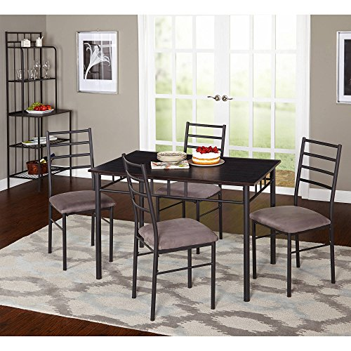 L5PL Dining Set, Black/Gray, The table and decorative apron have a black metal frame with straight tubular legs and a gray finish tabletop, microfiber foam, Dimensions LxWxH 46.10x30.00x30.00