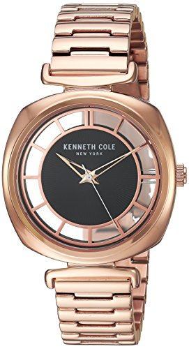 Kenneth Cole New York Women's 'Transparency' Quartz Brass-Plated-Stainless-Steel Dress Watch, Color:Rose Gold-Toned (Model: KC15108001) (Kenneth Cole Watches Rose Gold)