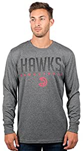 Atlanta Hawks Men's T-Shirt Athletic Quick Dry Long Sleeve Tee Shirt, Small, Charcoal