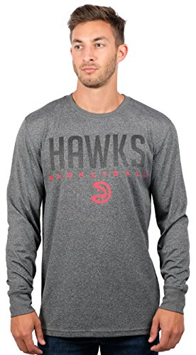 UNK NBA Atlanta Hawks Men's T-Shirt Athletic Quick Dry Long Sleeve Tee Shirt, Large, Charcoal