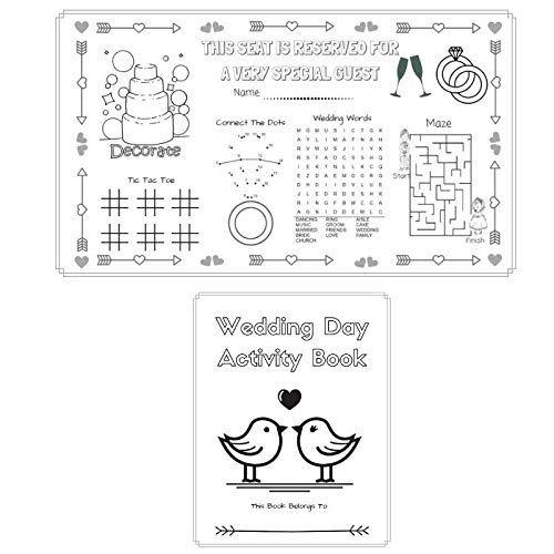 (12 Sets) Wedding Activity Kits for Kids: Coloring Activity Books and Coloring Game Placemats