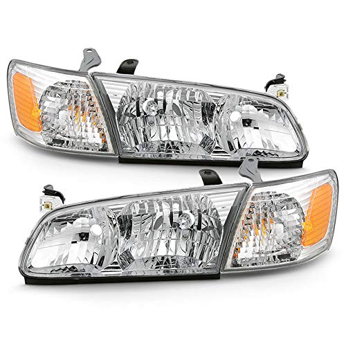 ACANII - For 2000-2001 Toyota Camry OE Factory Style Headlights Headlamps w/Corner Lights Signal Lamps 4pcs Left+Right