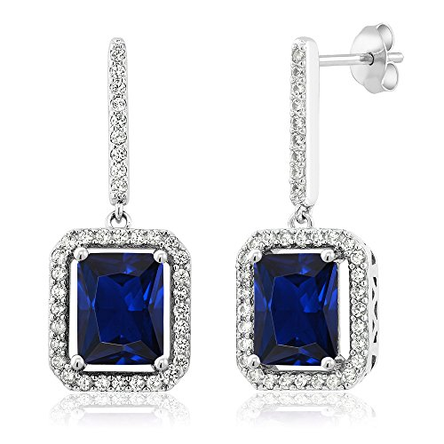 6.36 Ct Emerald Cut Blue Simulated Sapphire 925 Sterling Silver Earrings -
