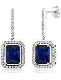 6.36 Ct Emerald Cut Blue Simulated Sapphire 925 Sterling Silver Earrings