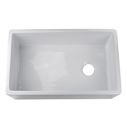 Offset Drain Kitchen Sink.Adumly Size 30 White Color Fireclay Farmhouse Sink Apron