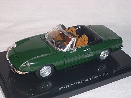 Mco 1971 Alfa Romeo Spider 2000 veloce Cabrio modello auto verde Scala 1: 24 MODELLCARSONLINE