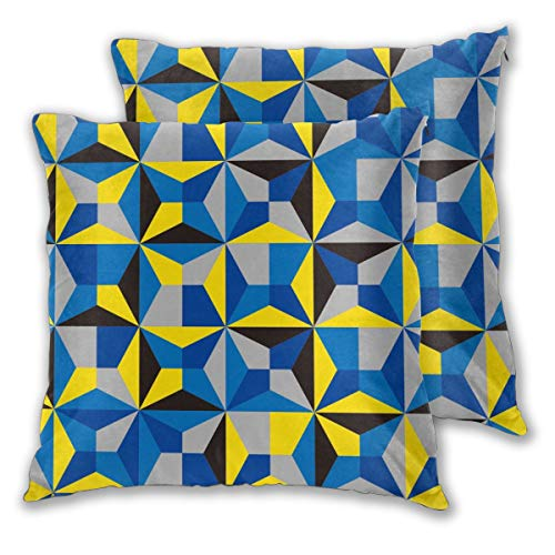 USHMX Throw Pillow Covers Men Standard Size Set of 2, Triangle Line Symmetry Electric Blue Yellow Printed Pillow Cover Square Throw Polyester Fiber Pillow Case -