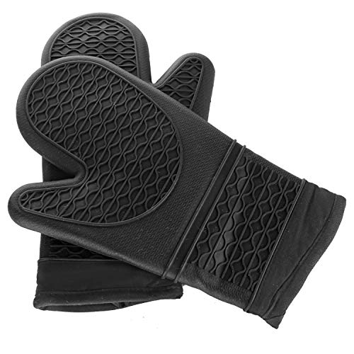 ERUN Silicone Oven Mitts 1 Pair Potholders Heavy Duty Cooking Gloves, Kitchen Counter Safe Trivet Mats | Advanced Heat Resistance, Non-Slip Textured Grip Pot Holder (Black)