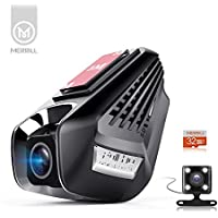 MERRiLL Dash Cam WiFi Dual lens 1296P 15 megapixel Car Camera 170° Wide Angle Night Vision and 32GB card