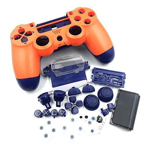 Sunset Orange-Full Housing Shell Cover with Buttons Joystick Cap for Playstation 4 Slim Pro 4.0 Verison Controller DualShock 4 4.0 Version Wireless Controller