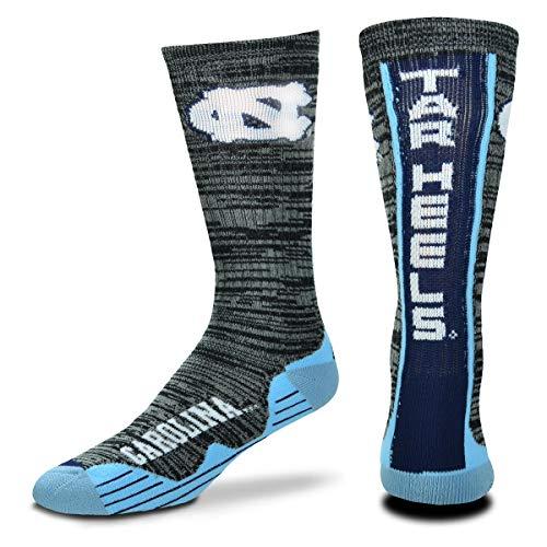 For Bare Feet NCAA Mens Team Vortex RMC Crew Socks-Medium & Large Sizes-North Carolina Tar Heels-Medium (5-10)