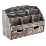 desk organizer wood - MyGift Distressed Wood Desk Organizer, 6 Compartment 2 Drawer Supplies Rack, Brown