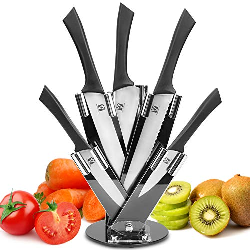 Vestaware Knife Set/Kitchen Knvies,Kitchen Knife Set with Carving Utility Chef Bread and Paring Knives – 6 Piece High Carbon Stainless Steel Cutlery Knife Set with Block (BK2)