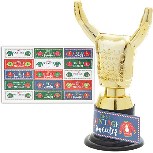 Blue Panda Christmas Party Ugly Sweater Award Trophy Set with Stickers - Pack of 12 (Sweater Christmas Trophy Ugliest)