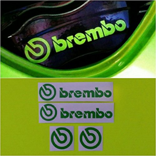 R&G Brembo HIGH TEMP Brake Caliper Decals Sticker and Logos Set of 4 - With Green G Logo