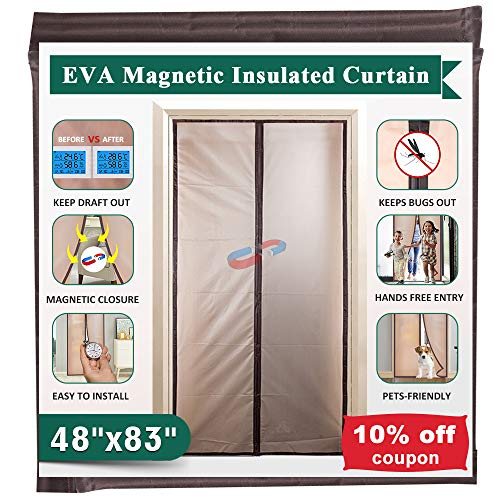 Magnetic Insulated Door Curtain Thermal Screen Door for Air Conditioner Room/Kitchen Enjoy Your Cool Summer, Keeping Out…