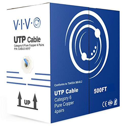 VIVO Blue 500ft Bulk Cat6 Full Copper 23 AWG Indoor LAN Ethernet Cable Wire | UTP Pull Box 500 ft Cat-6 Copper (CABLE-V017) (500' Wire Spool)