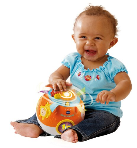 519MGzinxSL - VTech Move and Crawl Baby Ball, Orange (Frustration Free Packaging)