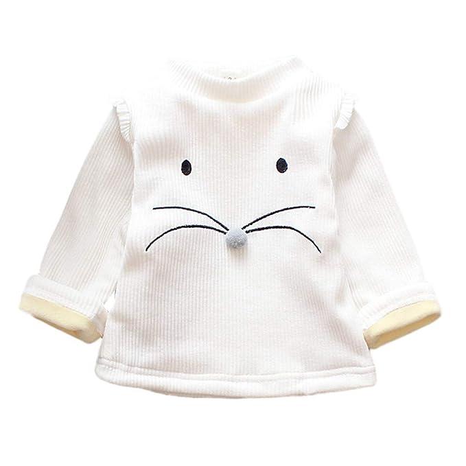 K-youth Camiseta para Niñas Blusas Niña Tops de Manga Larga Niña Camiseta Niñas Gato