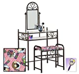 New Black Finish Make Up Sweetheart Vanity Table with Mirror & Beatles Love Pink Themed Bench Includes Free Purse & Hand Mirror!