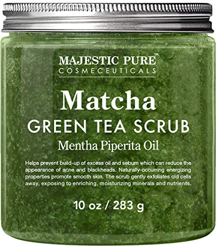 Matcha Green Tea Body Scrub for All Natural Skin Care – Exfoliating Multi Purpose Body and Facial Scrub Moisturizes and Nourishes Face and Skin – 10 oz – Great Gift for Her