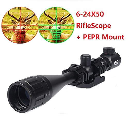 UUQ® Clarity+ 6-24x50 Hunting Rifle Scope Red Green Dual Illuminated w/ PEPR Mount