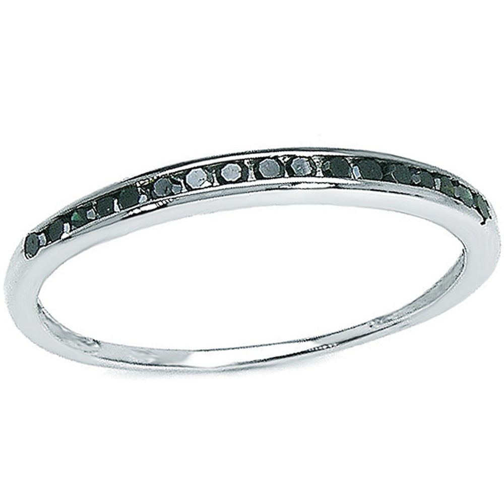 0.25 Carat (ctw) Sterling Silver Black Round Real Diamond Wedding Anniversary Stackable Band Ring 1/4 CT (Size 9)
