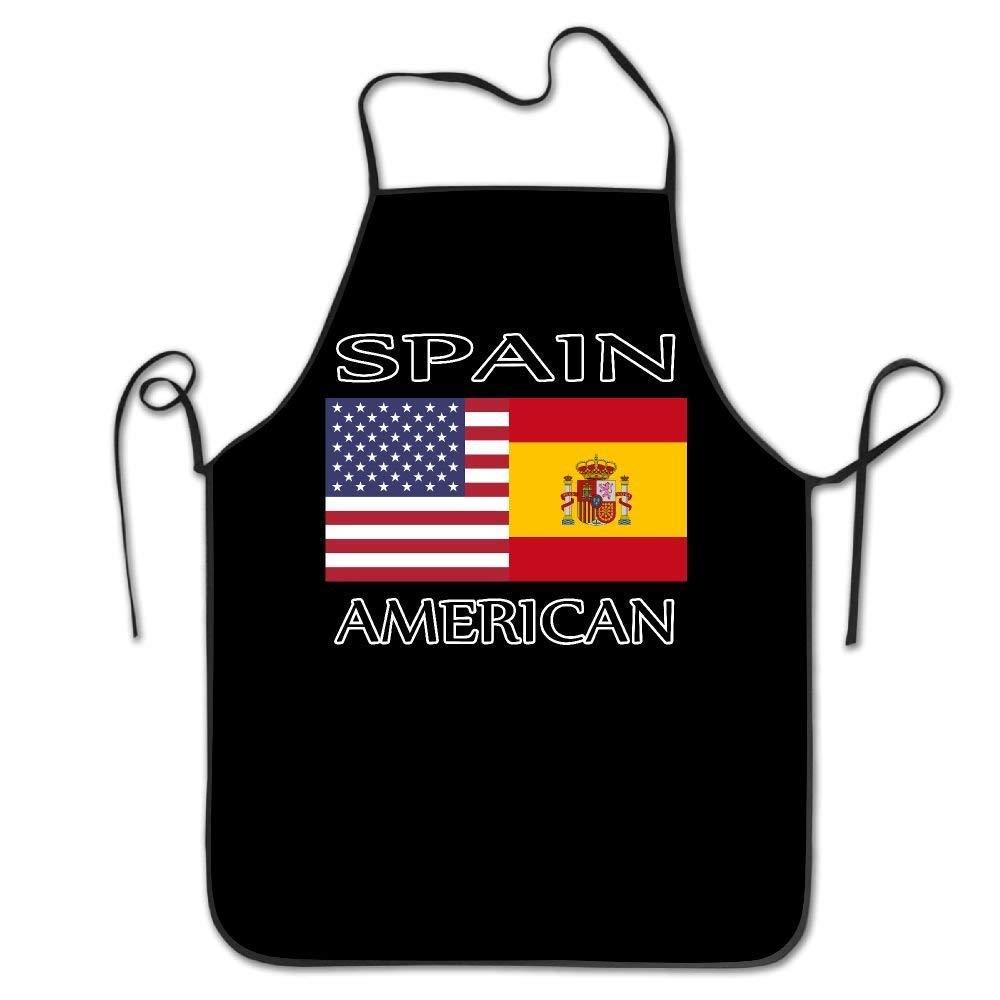 amiuhoun スペイン アメリカ国旗 ユニセックス キッチン ビブエプロン Barbershop マニキュア ストア 調節可能なネックシェフエプロン   B07GKQXKXH