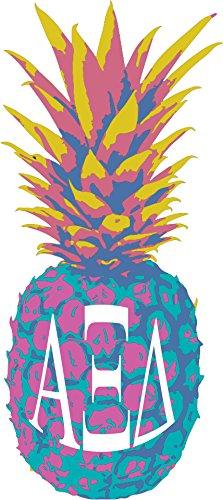 Alpha Xi Delta Pop Art Pineapple Sticker 5 Inch Tall Sorority Decal Greek Letter For Window Laptop Computer Car Alpha Zee
