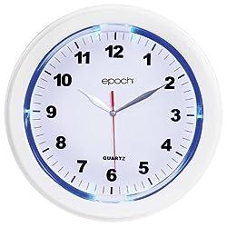 Blue LED Illuminated Wall Clock - White Bezel