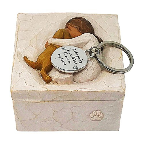 Willow Tree Loss of Pet Gift - Dog Memorial Sympathy True Keepsake Jewelry Box with Pet Angel Wings Key Chain Coin Medallion - Death of Pet Inscription Coin Fits Inside - Dog Friends Figurine