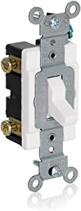 Leviton 1080-W Momentary Contact SPST Toggle Switch, White