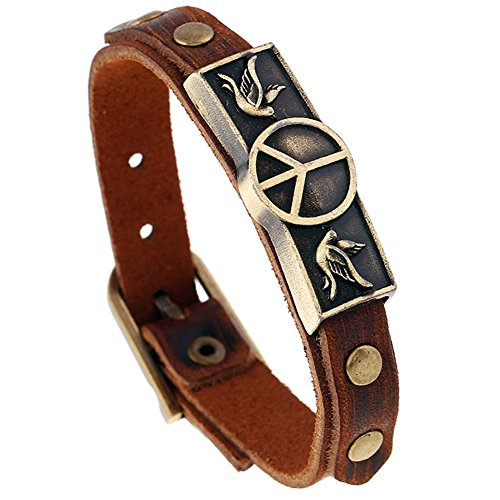 Celokiy Peace Sign Bracelet Bangle Wristband Genuine Leather Adjustable,9.5 Inch