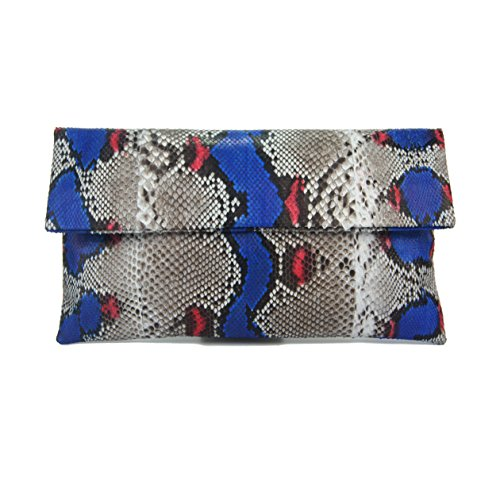 (Genuine Cobalt Blue & Scarlet Motif Python Leather Classic Foldover Clutch Bag)