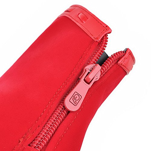 Boots Leather Pinker Imitated Back Girls Winkle Red Zipper 1TO9 Stiletto WU0qfgw68