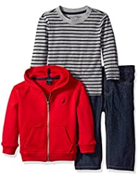 Nautica Baby Boys' Three Piece Fleece Set with Full Zip Hoodie, Long Sleeve Tee and Denim Jean