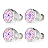 CREATE BRIGHT Led Grow Light Bulb, 60W Plant Light Bulb Full Spectrum Led Grow Bulb E26 Grow Plant Light for Indoor Plants,Hydroponics Greenhouse Organic,Pack of 4