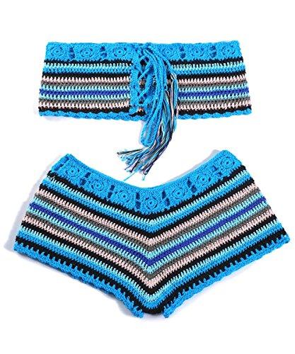 Women Crochet Bikini Set Knit 2PCS Bathing Suit Swimsuit Beachwear ()