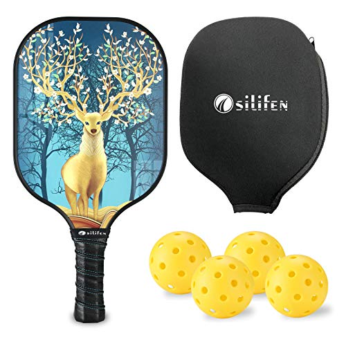 Osilifen Pickleball Paddle Graphite Pickleball Racket with Graphite Carbon Fiber Face, Polypropylene Honeycomb Core, Ultra Cushion, Lightweight 7.9OZ with Cover, Ideal for Beginners Christmas elk
