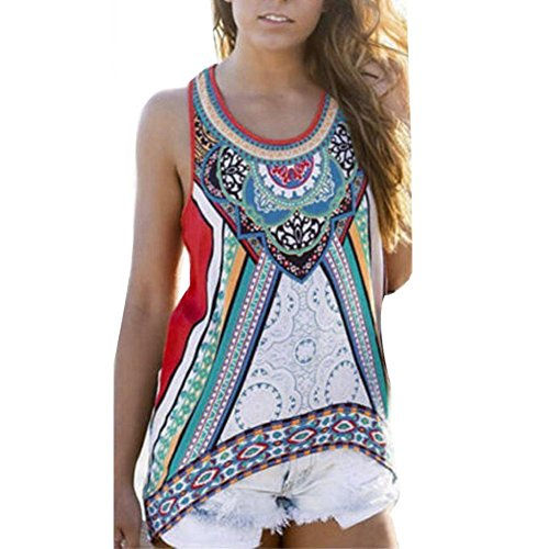 Flank Women Summer Sleeveless Blouse Casual Tank Tops (Racerback Tunic Top)