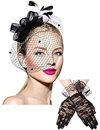 Bowknot Fascinator Hat Feathers Veil Mesh Headband and Short Lace Gloves Floral Lace Gloves