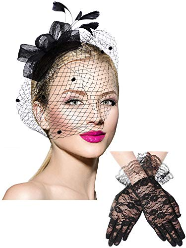 Bowknot Fascinator Hat Feathers Veil Mesh Headband and Short Lace Gloves Floral Lace Gloves Black -