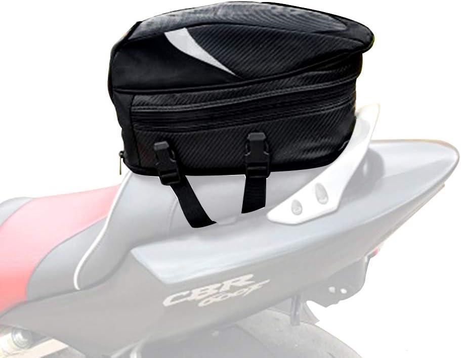 PU Leather Motorcycle Rear Seat Bag Tail Pocket Backpack Waterproof Metal Handle