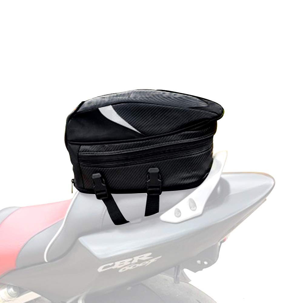 JFG RACING Motorcycle Tail Pack/Seat Bag Waterproof Luggage Bag Multifunctional PU Leather Motorbike Helmet Bag Storage Bag Riding Backpack,18.5 Liters